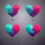 Геометрическое сердце форм Шаблон на день валентинок Стоковое Фото