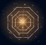 геометрия священнейшая Абстрактные геометрические формы на синей накаляя предпосылке иллюстрация штока