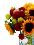 Георгин и солнцецветы стоковое изображение