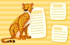 Гепард на пустом примечании иллюстрация вектора