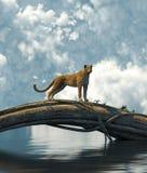 Гепард отдыхая на стволе дерева иллюстрация вектора