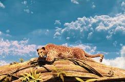 Гепард отдыхая на стволе дерева бесплатная иллюстрация