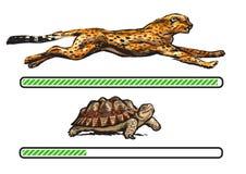 Гепард и черепаха Быстрый и медленный бар загрузки иллюстрация вектора