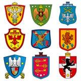 Герб династии семьи средневековый королевский на комплекте вектора экрана бесплатная иллюстрация