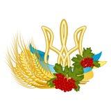 Герб, флаг, калина, и пшеница - clipart вектора украинских национальных символов Государство и фольклорные знаки Украины золоты иллюстрация штока