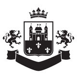 Герб - экран с крепостью и 2 стоящими львами Стоковые Фото