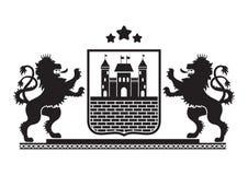 Герб - экран с крепостью, кирпичной стеной Стоковые Фото