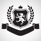 Герб - экран с львом, лавром, кроной на верхней части Стоковые Изображения