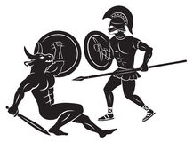 Геркулес и Minotaur иллюстрация вектора