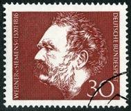 ГЕРМАНИЯ - 1966: выставки Ernst Werner Сименс 1816-1992, изобретатель и промышленник, инженер-электрик Стоковое Фото
