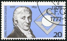 ГЕРМАНИЯ - 1977: выставки Johann Карл Фридрих Гаусс (1777-1855), немецкий математик, 200th годовщина рождения Стоковая Фотография