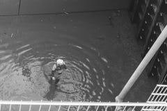 Германия, Регенсбург, 17-ое марта 2017, мост Protzenweiher и Уотергейт канала Европы в Регенсбурге во время procedur чистки Стоковое фото RF