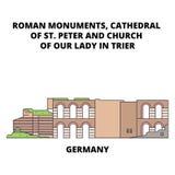 Германия, собор St Peter и церковь нашей дамы В Трир выравнивают концепцию значка Германия, собор St Peter и иллюстрация вектора