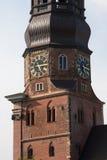 Германия hamburg Часы на колокольне церков St Katharinen St Катрина Hauptkirche стоковое изображение