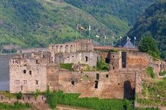 Германия, Rhineland, взгляд rheinfels burg рокирует Стоковые Изображения RF