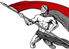 Героикоромантический человек нося знамя стоковые изображения rf