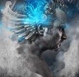 Герой, мифология, человек с черными формами, портрет студии стоковая фотография rf