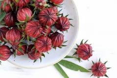 Гибискус или roselle приносить в плите на белом деревянном столе Стоковое Изображение