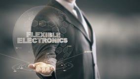 Гибкая электроника с концепцией бизнесмена hologram акции видеоматериалы