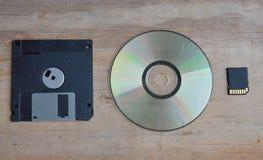 Гибкий магнитный диск с разработкой технологий карточки DVD и SD для компьютера Стоковая Фотография