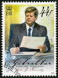 ГИБРАЛТАР - 2008: выставки Джона f Кеннеди (1917-1963), Европы серия сочинительства письма Стоковое фото RF