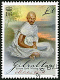 ГИБРАЛТАР - 2008: выставки Mohandas Karamchand Ганди (1869-1948), Европы серия сочинительства письма Стоковое Фото