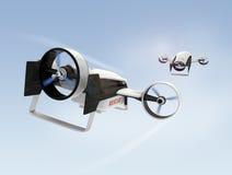 2 гибридных трутня летая в небо Стоковые Изображения