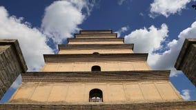 Гигантская одичалая пагода гусыни или большая одичалая пагода гусыни, буддийская пагода расположенная в южном Xian Sian, XI `, пр сток-видео