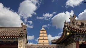Гигантская одичалая пагода гусыни или большая одичалая пагода гусыни, буддийская пагода расположенная в южном Xian Sian, XI `, пр акции видеоматериалы
