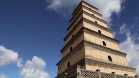 Гигантская одичалая пагода гусыни или большая одичалая пагода гусыни, буддийская пагода расположенная в южном Xian Sian, XI `, Ки видеоматериал