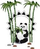 Гигантская панда сидя и есть с бамбуковым лесом на заднем плане иллюстрация штока