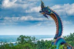 Гигантская тайская статуя Naga Стоковые Изображения RF
