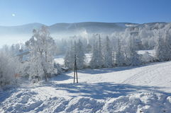 Гигантские горы/Karkonosze, зима Karpacz Стоковое Изображение RF