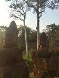 Гигантские каменные стороны Южный строб, Angkor Wat Камбоджа Стоковые Изображения