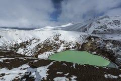 Гигантский вулкан Askja предлагает взгляд на 2 озерах кратера Малое, бирюза одно вызвано Viti и содержит теплое геотермическое wa Стоковые Изображения