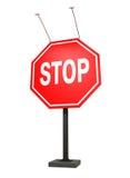 Гигантский знак стопа, изолированный на белизне, путь клиппирования Стоковая Фотография RF