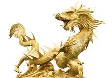 Гигантский золотой китайский дракон Стоковое фото RF
