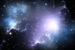 Гигантское накаляя межзвёздное облако Предпосылка космоса с межзвёздным облаком и звездами Стоковое Фото