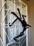 Гигантское оформление хеллоуина паука и сети стоковая фотография