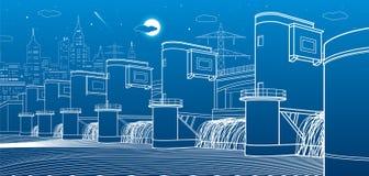 Гидро электростанция Запруда реки Станция энергии Иллюстрация инфраструктуры города промышленная Белые линии на голубой предпосыл Стоковое Изображение RF