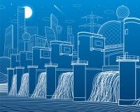 Гидро электростанция Запруда реки Станция энергии Иллюстрация инфраструктуры города промышленная самомоднейший городок Белые лини Стоковое Изображение RF