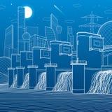 Гидро электростанция Запруда реки Станция энергии Панорама иллюстрации инфраструктуры города промышленная Белые линии на голубой  Стоковые Фото