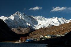 Гималаи Gokyo Ri, горы Непала, снега покрыло высокие пики и озеро не далеко от Эвереста стоковая фотография rf
