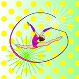 Гимнастика искусства шипучки звукомерная, девушка с лентой на шпагате вектор нот человека цвета предпосылки Имитация стиля комика стоковое фото rf