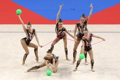 Гимнастика Российской Федерации команды звукомерная стоковое фото rf