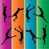 гимнастическая рука silhouettes весна Иллюстрация штока