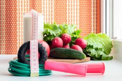 Гимнастические веревочка и овощи скачки для здорового питания - томат, огурец, редиска и салат на таблице около окна ?? стоковое фото