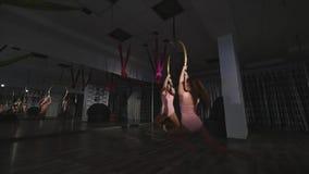 Гимнасты объезжая в круге в воздухе в студии сток-видео