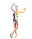 гимнаст девушки над белой предпосылкой Стоковые Фотографии RF