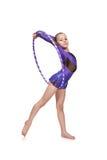 Гимнаст девушки с обручем Стоковое Фото